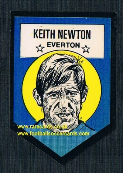 1972 BAB unused Shooting Stars Everton Keith Newton LIGHT with backing paper